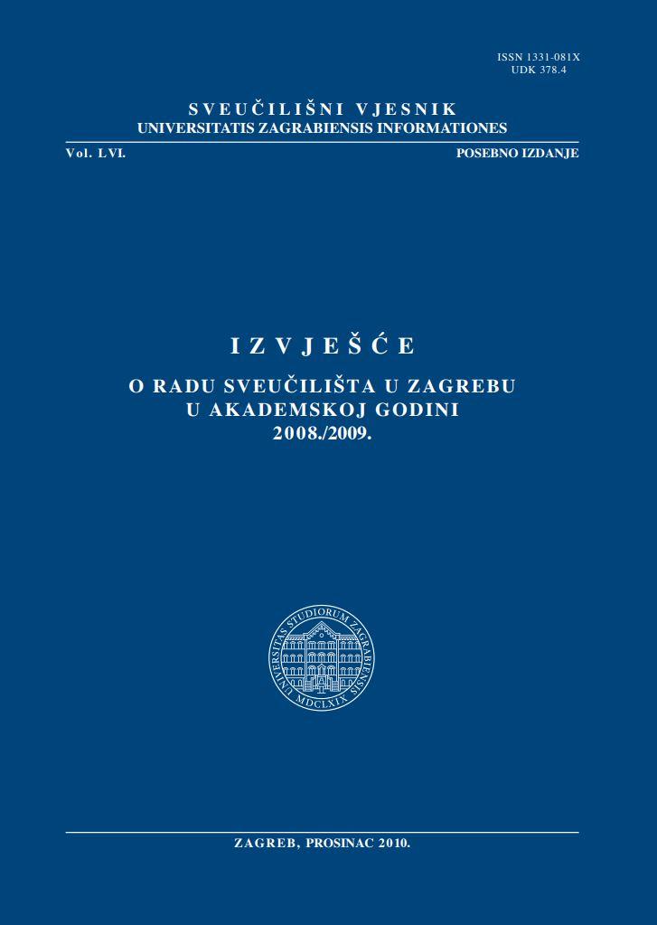 prikaz prve stranice dokumenta Izvješće o radu Sveučilišta u Zagrebu u akademskoj godini 2008./2009.